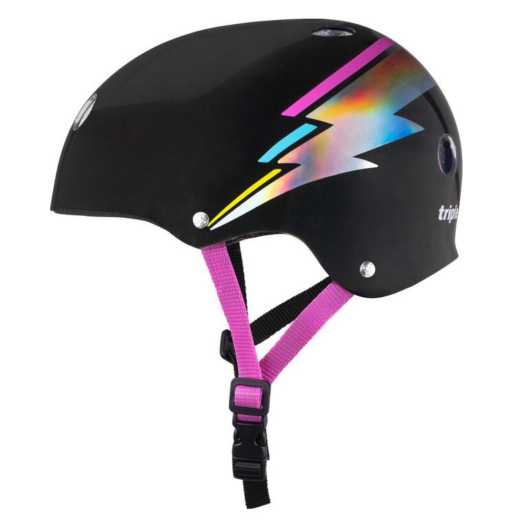 Triple 8 Certified Sweatsaver Helmet - Black Lightning Hologram