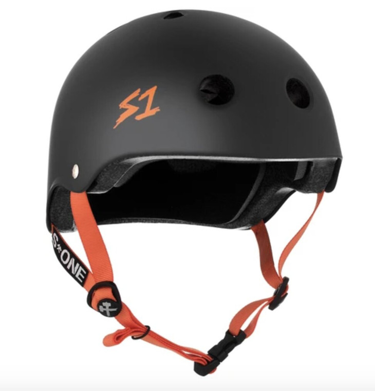 S1 Lifer Helmet - Matte Black w/ Orange Straps