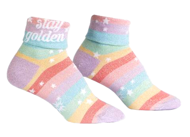 Stay Golden Turn Cuff Socks