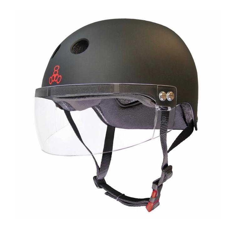 Triple 8 Visor Helmet Certified Matte Black