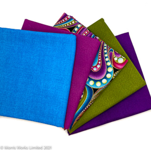 Jewelled Colours Fat Quarter Bundle - 5 Fabrics 100% cotton quilting fabric, cut to fat quarters sold as a fat quarter pack. Environmentally friendly packaging.