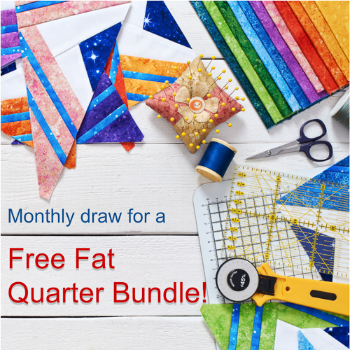 Free Fabric UK - Register with us and be automatically entered in our monthly draw for a free fat quarter bundle of beautiful quilting fabric.