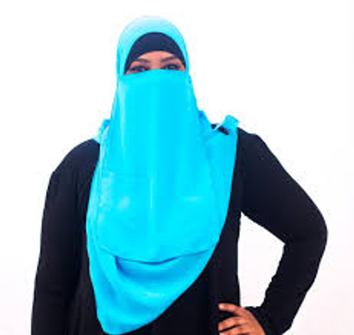 "44"" Square Hijab & Matching 1/2 Face Niqab"