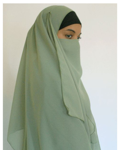 Large Square HIjab &  Matching Half Face Niqab