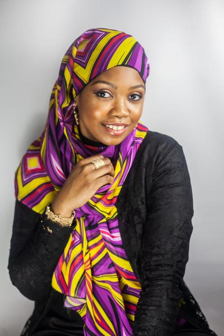 African Print Hijab - Purple Burst (Chiffon)
