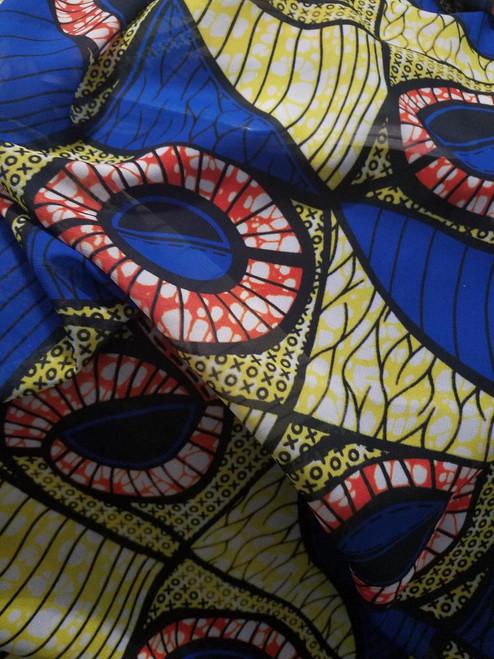 African Print Hijab - Rings Y & B (Chiffon)