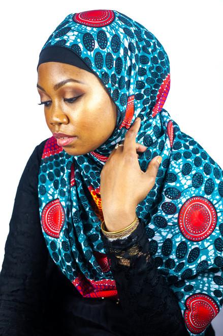 African Print Chiffon HIjab - Plate R & G