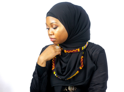 African Print Trimmed Hijab
