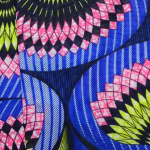 African Print Chiffon Hijab - Bright Blue