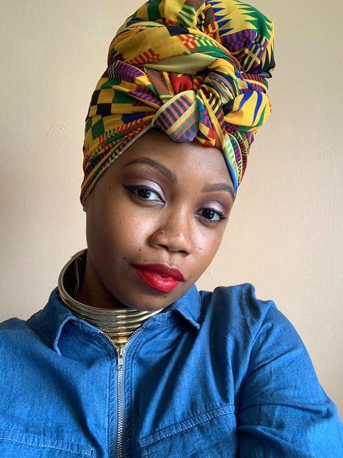 African Print Chiffon Hijab - Kente N
