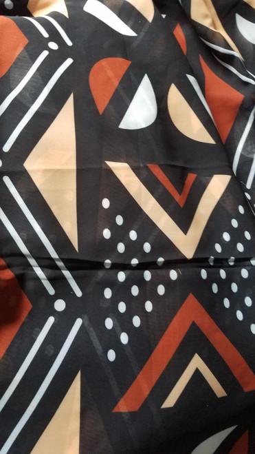 African Print Chiffon Hijab - Mud Cloth
