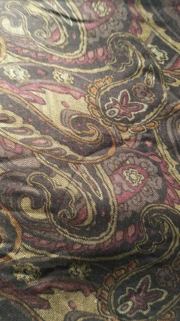Dark Brown Paisley Rayon Fabric - 2 Yards