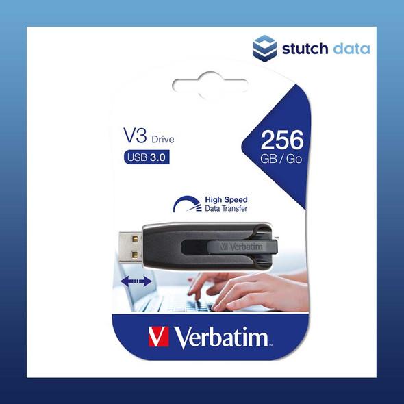 Image of Verbatim Store'n'Go V3 USB 3.0 Drive 256GB - Grey 49168