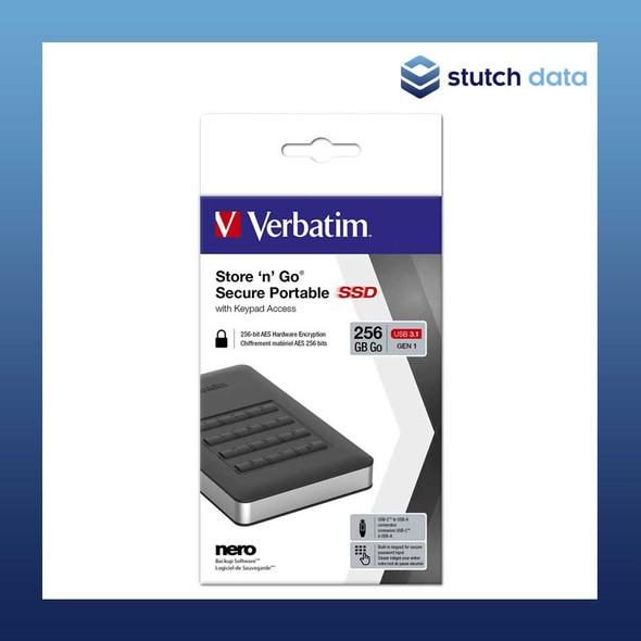 Image of Verbatim USB 3.1 Store'n'Go Secure SSD w/Keypad Access 256GB - Black 53402 in product box