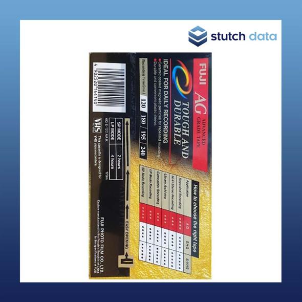 Fuji Advanced Grade VHS Tape 120 minutes E-120 back of tape