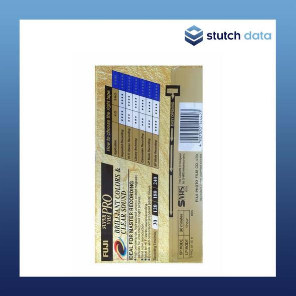 Fuji Super VHS PRO Video Cassette Tape 30min SE-30 Back
