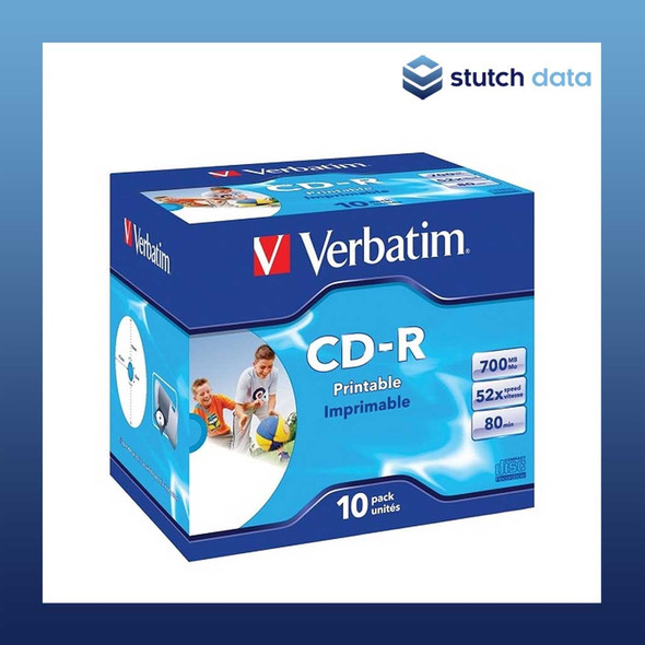 Image of Verbatim CD-R 10 Pack Jewel Cases White Wide Inkjet Printable 41920