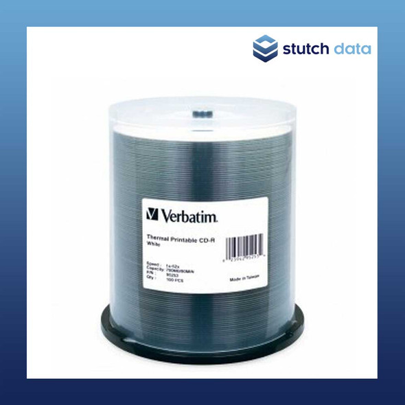 Verbatim CD-R 100 Disc Spindle White Thermal Printable 95253