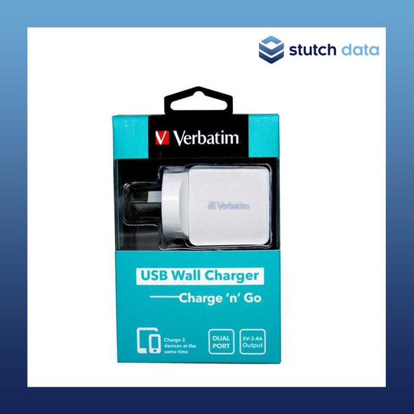 Image of Verbatim USB Wall Charger Dual Port 3.4A - White 64956