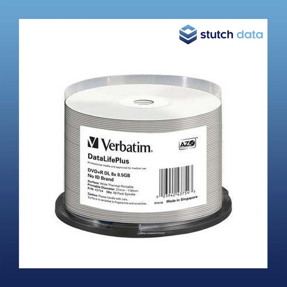 Verbatim DVD+R DL 50 Disc Spindle White Wide Thermal Printable 43754