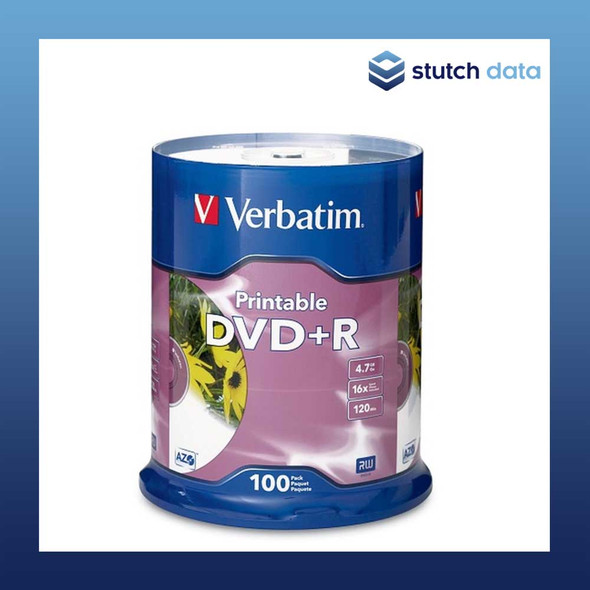 Verbatim DVD+R 100 Disc Spindle White Inkjet Printable 95145