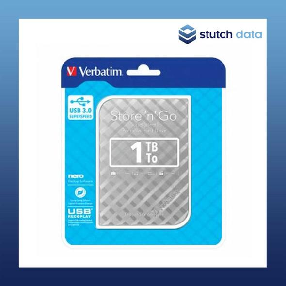 """Verbatim 2.5"""" USB 3.0 Store'n'Go 1TB HDD Silver Grid Design 53197"""