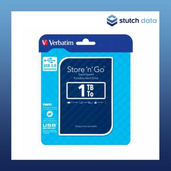 """Verbatim 2.5"""" USB 3.0 Store'n'Go 1TB HDD Blue Grid Design 53200"""