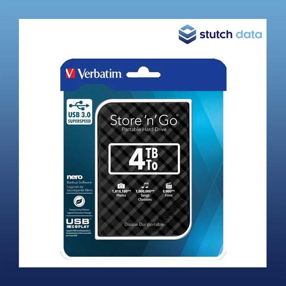 "Verbatim 2.5"" USB 3.0 Store'n'Go 4TB HDD 15mm Black Grid Design 53223"