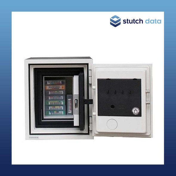 Image of Datacare Media Fireproof Safe 2001 with open door & tapes