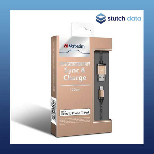 Image of Verbatim Gold Metallic Charge & Sync Lightning Cable 120cm 64532
