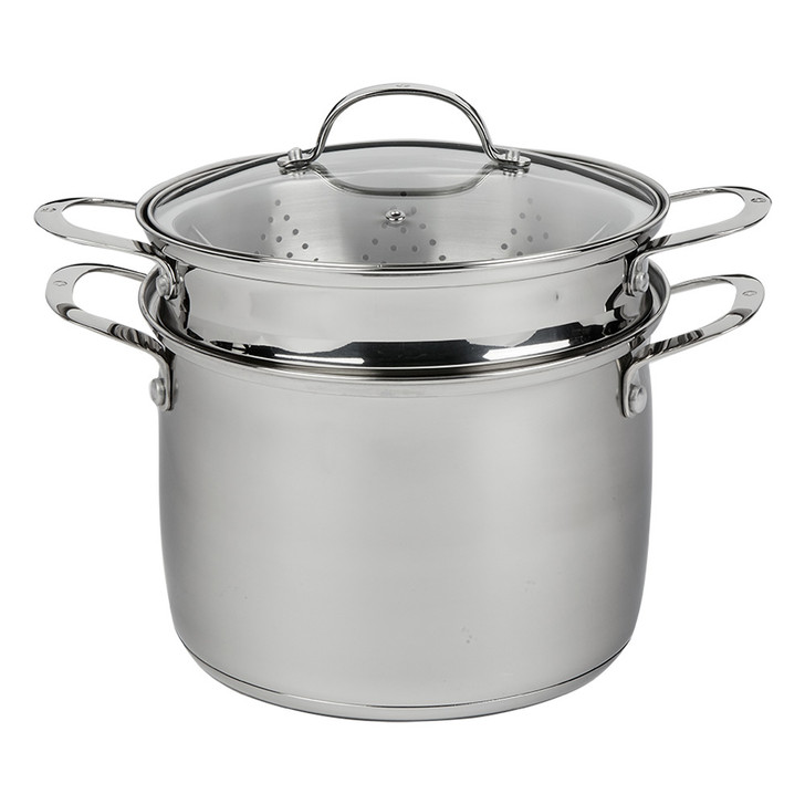 "Premium Steel DLX - 7.6 Qt. (9.5"") Stainless Steel Pasta Pot with Strainer, Steamer Basket, & Lid | Swiss Diamond - Complete"