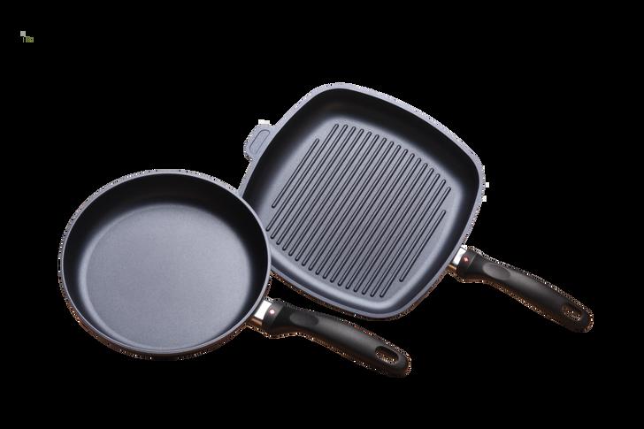 2 Piece Set: Nonstick Fry Pan & Grill Pan   HD Classic