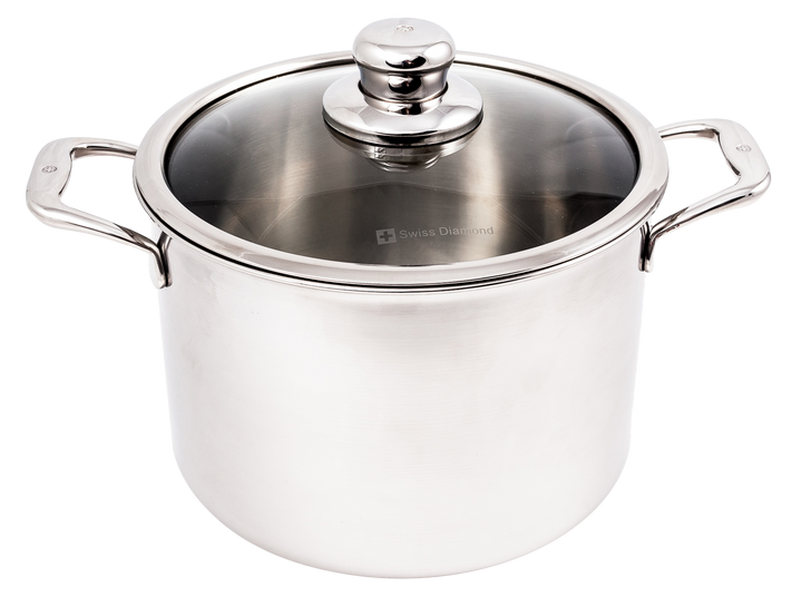 """7.9 Qt (9.5"""") Stainless Stock Pot with Lid   Premium Clad"""