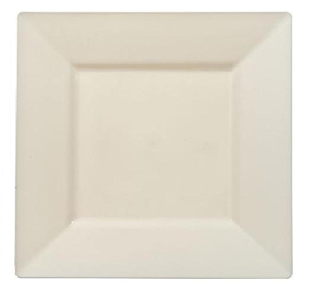 Plastic Squares 10 34 Inch Cream Plates 10 Ct Party Brights