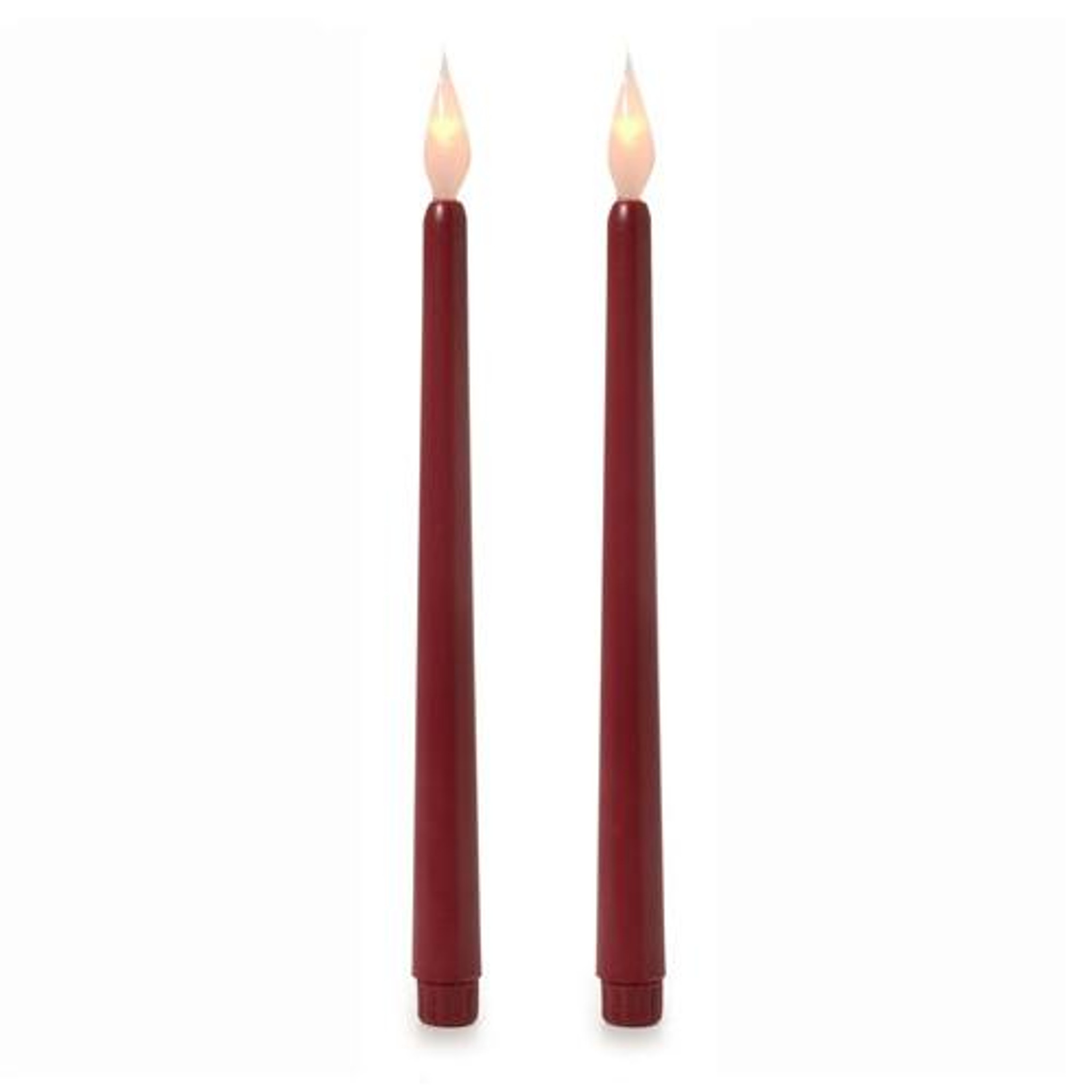11 Inch Led Taper Candles Burgundy Pack Of 2 Party Brights