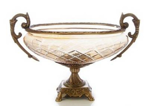 14 inch amber glass bowl with brass accent