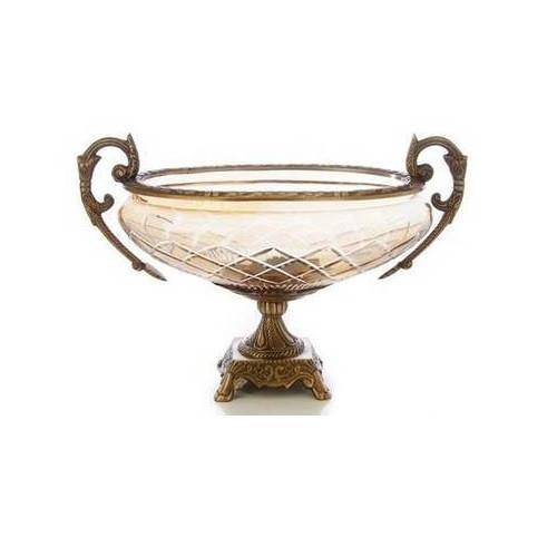 14 Inch Amber Glass Brass Bowl