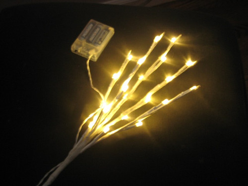 White 27 Inch Branch with 20 Warm White LED Lights - Battery Operated