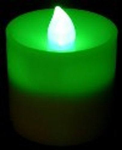Special - Box of 12 Green Votive Candles with Flicker