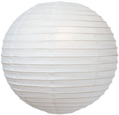 Parallel Ribbed White 8-Inch Round Paper Lantern