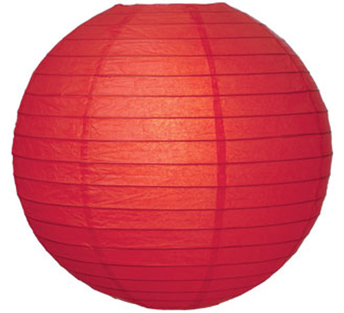 Parallel Ribbed Red 8-Inch Round Paper Lantern