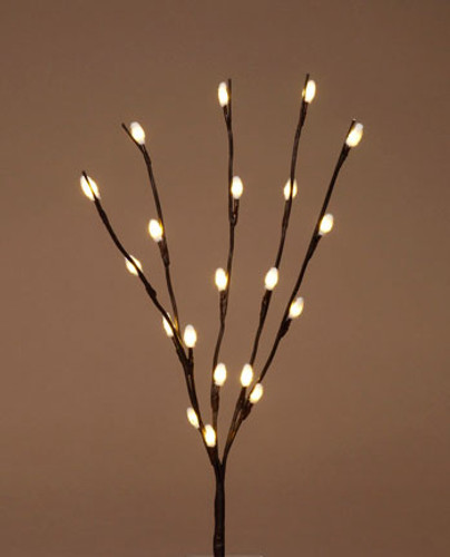 24 Inch Pussy Willow - Warm White Fuzzy LED Lights - Battery Operated