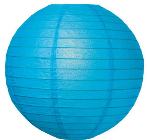 Parallel Ribbed 8-Inch Round Paper Lantern Turquoise