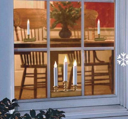 Single Tier Amber Flame Holiday Window Candle Battery Operated - Pewter Base