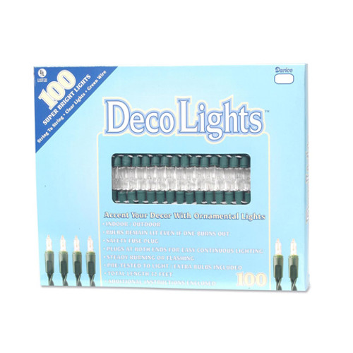 100 Bulb Light Set-Clear Bulb/Green Cord