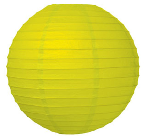Parallel Ribbed Chartreuse 12-Inch Round Paper Lantern