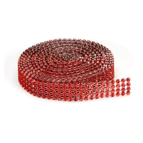 Red Mesh Bling on a Roll - 3mm x 4 rows