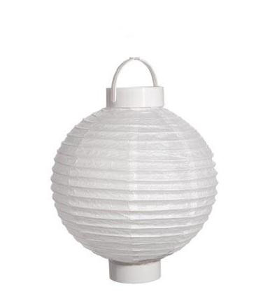 8 Inch Battery Operated Paper Lantern White Party Brights