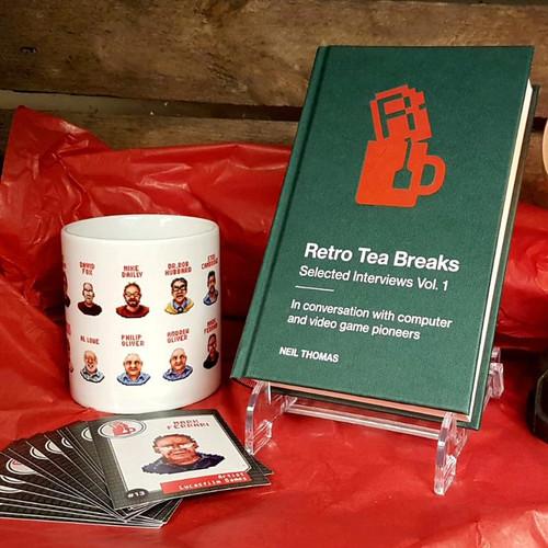 Book, collectors cards and mug