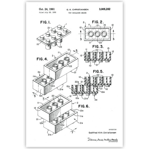 Toy Building Brick Patent Poster Print